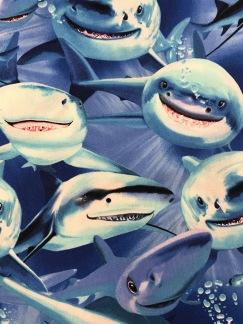 Hajar bomullstyg blå -