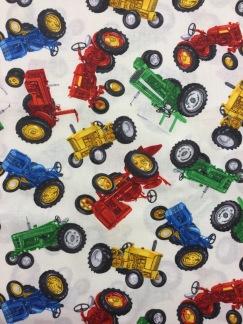 Färgglada Traktorer bomullstyg -