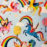 Rainbow- unicorn bomullstyg