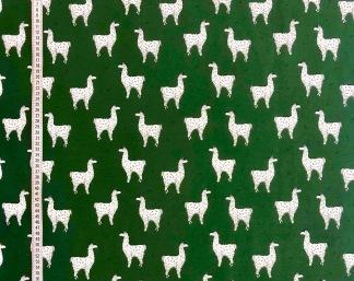 Grön lama- trikåtyg -