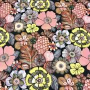 Frukt och blomma vävt bomullstyg
