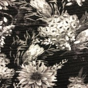 Vildblomma svart plisserat tyg