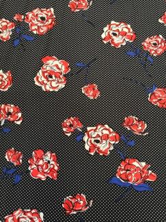 Blommor på prickig botten trikå - Blommor på prickig botten trikå