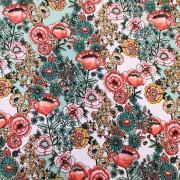 Turkos och rosa blommor bomullstrikå