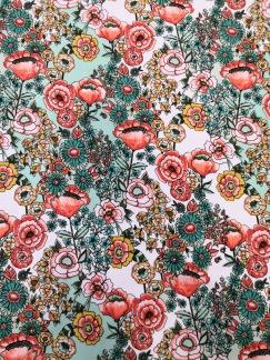 Turkos och rosa blommor bomullstrikå - Turkos och rosa blommor bomullstrikå