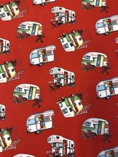 Happy camper röd bomullsväv -