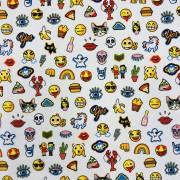 Emoji bomullstyg vit