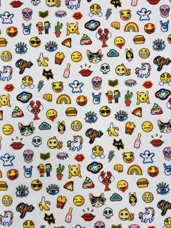 Emoji bomullstyg vit -