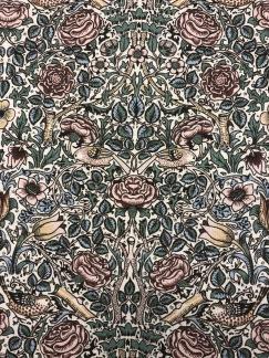 Vintage ros- bomullstyg -