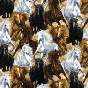 Vildhästar- bomullsväv