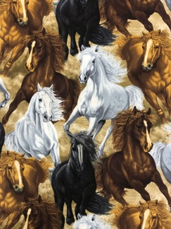 Vildhästar- bomullsväv -