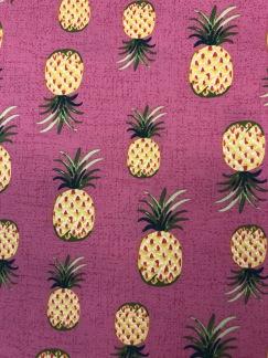 Ananas cerise- bomullsväv -