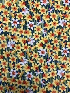 Påskliljor- bomullsväv -