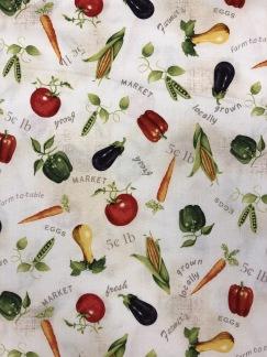 Grönsaker- bomullsväv -