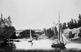 Boo gård och inloppet till Baggensstäket från Baggensstäket någon gång under andra hälften av 1800-talet. (Oljemålning av okänd konstnär)