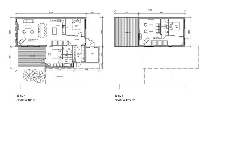 Planlösning för visningshuset. Klicka på bilden för att se den i  större storlek.