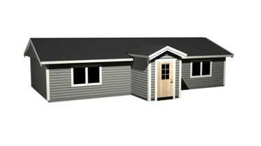 Fritidshus med liggande panel