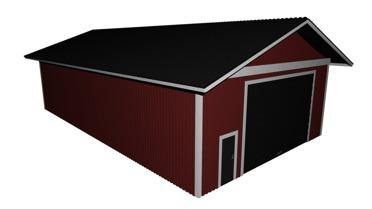 Garage med brutet tak
