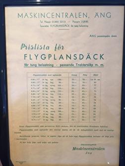 Prislista på flygplansdäck från 1961