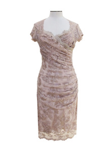 Olvis' Swarovski Lace Dress | Champagne  (Please contact boutique to order) - 38