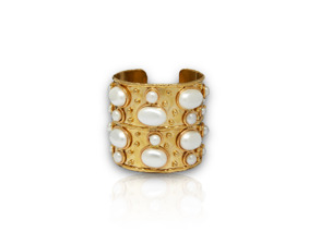 Sylvia Toledano Cuff Byzance Medium Bracelet with White Pearls (please contact boutique to order) - Sylvia Toledano Cuff Byzance Medium Bracelet with White Pearls