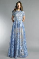 Basix Black Label Floral Applique Gown | Soft Blue