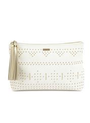 Melissa Odabash Capri Studded Clutch   White/Gold