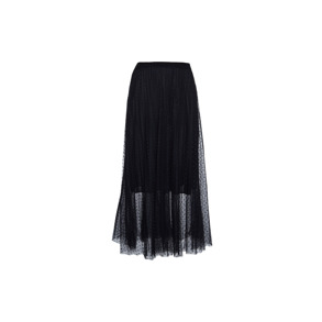 Paris Picked Dotted Black Long Skirt With Pleats - One size