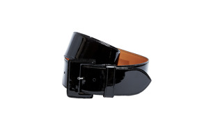 Maison Vaincourt Patent Leather Covered Buckle | Black - 175 (36)