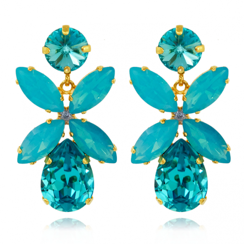 Caroline Svedbom Dione Drop Earrings | Light Turquoise + Caribbean Blue Opal & Gold