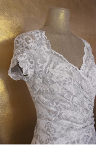 Olvis' Shimmer Lace Dress | Creme & Silver  (Please contact boutique to order) - EU 36