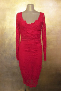 Olvis' Pedal Trim Lace Dress | Red​  (Please contact boutique to order) - 38/40