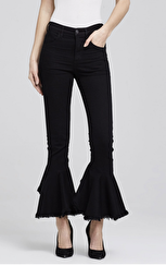 Citizens of Humanity Drew Flounce High Rise Crop Flare In Soiree |​ Black Velveteen