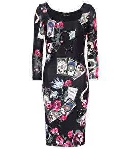 Roberto Cavalli Cards Printed Long-sleeved Dress - IT 44