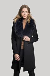 SAKI Sweden Ophelia Classic Wool Coat With Raccoon Collar | black