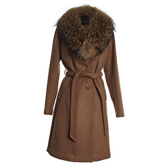 SAKI Sweden Ophelia Classic Wool Coat With Racoon Collar | camel