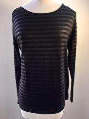 Majestic Boatneck Deluxe Stripe Teeshirt   black & graphite