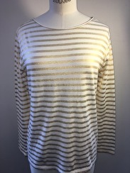 Majestic Boatneck Deluxe Stripe Teeshirt | white & gold