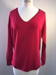 Majestic V Neck Deluxe Sweatshirt   cherry