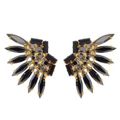 Caroline Svedbom Indian Feather Earrings | jet + hematite