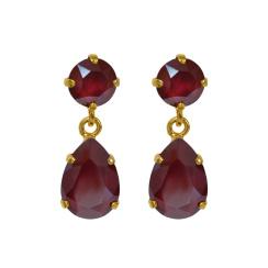 Caroline Svedbom Mini Drop Earrings | dark red