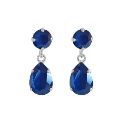 Caroline Svedbom Mini Drop Earrings | royal blue & rhodium