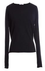 Majestic V Neck Deluxe Cashmere Jumper   black