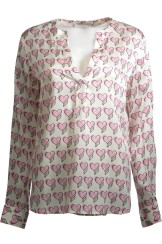 Herzen's Angelegenheit Silk Blouse with Heart Print | pink & green