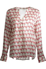 Herzen's Angelegenheit Silk Blouse with Heart Print | red & green