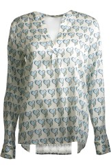 Herzen's Angelegenheit Silk Blouse with Heart Print | light blue & green