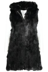 Tavus Milano Long Vest With Hood | black
