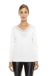 Paris Picked Crystal Sweater | white
