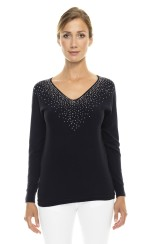 Paris Picked Crystal Sweater | midnight blue
