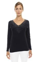 Paris Picked Crystal Sweater | black